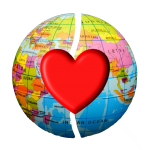 Globe with overlaid heart