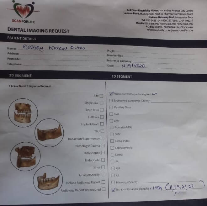 Request form for Geoffry's dental x-rays