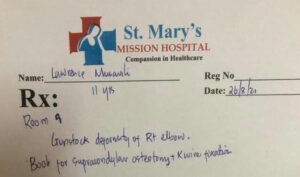 Treatment plan from St Mary's Mission Hospital