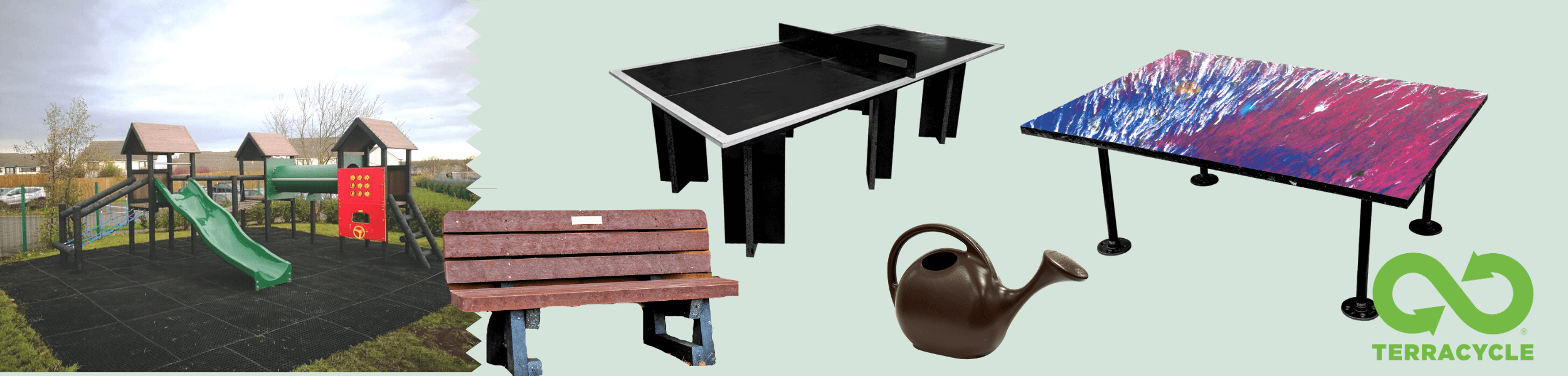 Images of items made by Terracycle including benches, tables, watering cans and even children's play equipment in a park